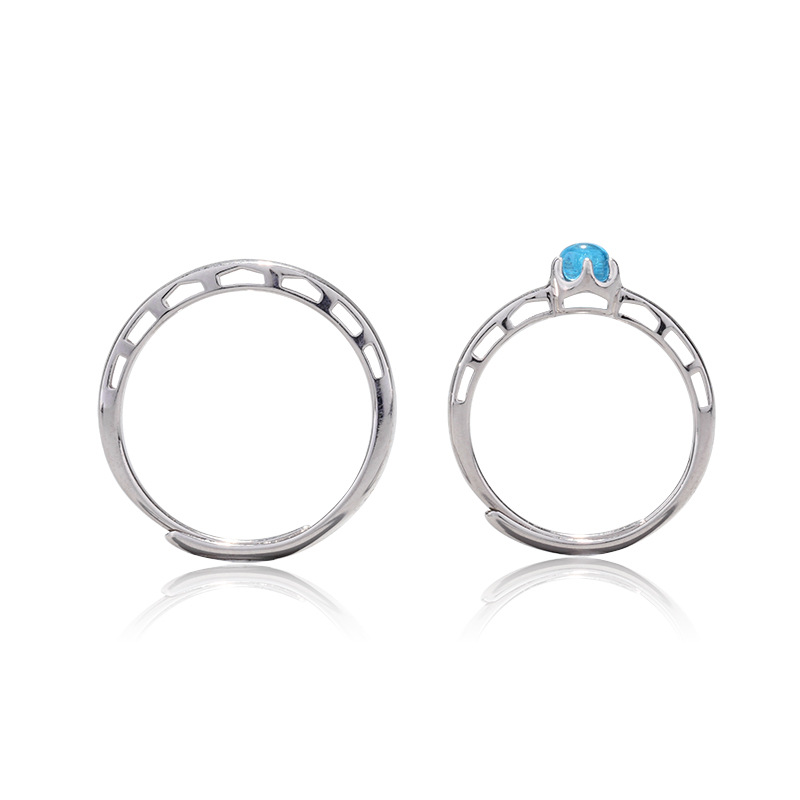 925 Sterling Silver Rings For Women Venice Bridge Of Sighs Blue Crystal Couple Open Ring Men Femme Fine Jewelry Student Gift in Rings from Jewelry Accessories