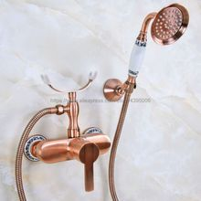 Red Copper Antique Bathroom Shower Faucet Bath Faucet Mixer Tap With Hand Shower Head Set Wall Mounted Bna351