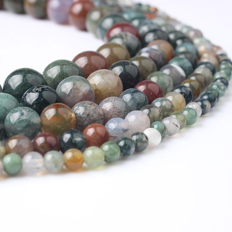 LanLi 4 6 8 10 12 мм натуральный ювелирные изделия индии, чтобы провести Агаты камень свободные бусины DIY Мода браслет цепочки и ожерелья