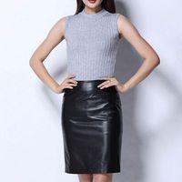High Quality Hot Sale Office Lady Genuine Leather Sheepskin High Waist Mini Skirts Women OL Style Female Multi Color Plus Size