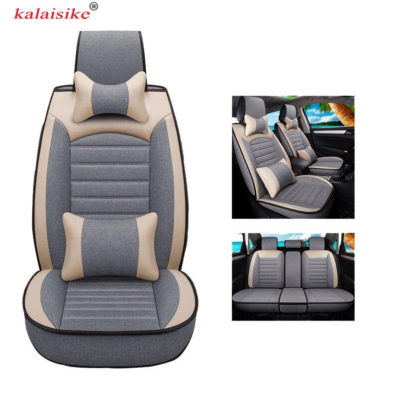 Housses de siège auto en lin universel kalaisike pour Volkswagen tous les modèles VW touareg JETTA passat touran Variant magotan polo golf