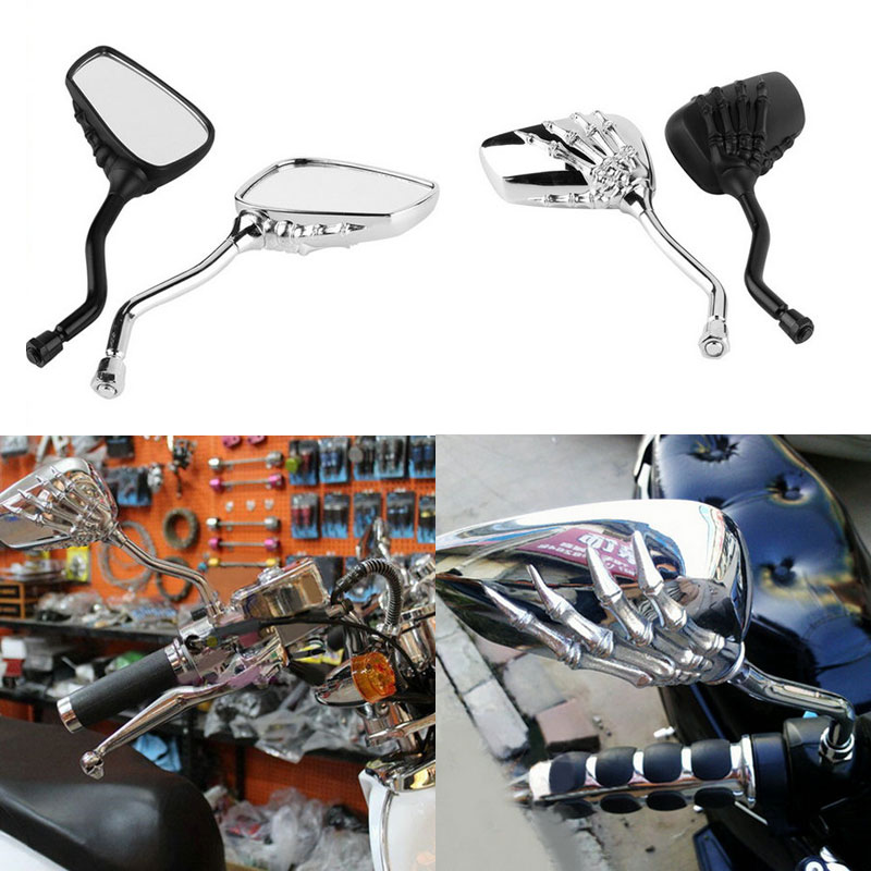 2pcs! Universal Motorcycle Side Rear View Mirrors Pair Chrome SKELETON Skull HAND Claw 8mm 10mm Motorbike Rearview Mirror qc m prince universal 0 8mm motorcycle rearview mirror silver black pair