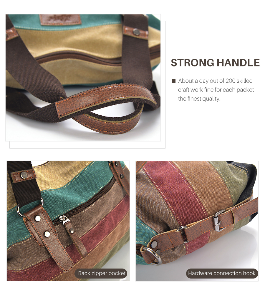 Colorful Large Patchwork Canvas Shoulder Bag for Women