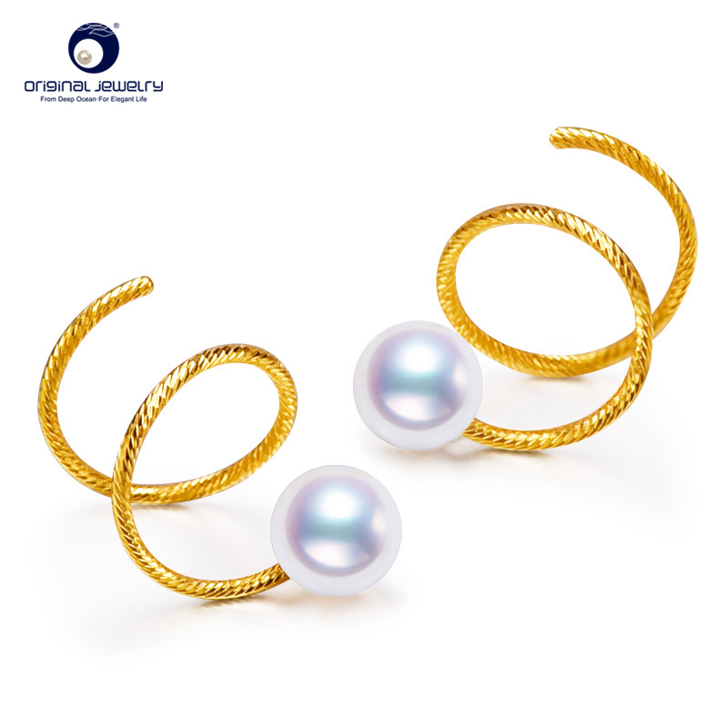 [YS] 5-5.5mm Small Size AAA Quality Genuine Akoya Pearl 18k Gold Pearl Jewelry Earrings кольцо tlh aaa 18k 9 5 jr1891