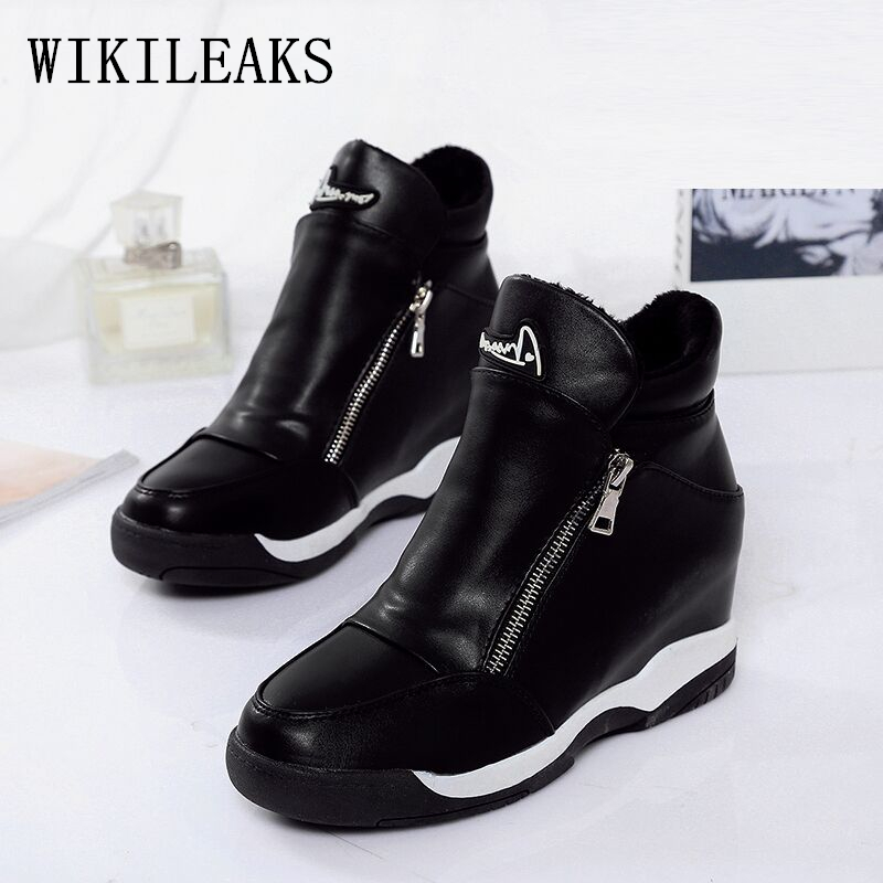 leather wedge shoes woman zapatos mujer plataforma tenis feminino casual platform shoes harajuku casual shoes women basket femme стоимость