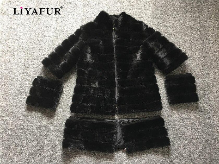 LIYAFUR 4 dans 1 Réel Fourrure De Vison À Long Manteau pour les Femmes Naturel Véritable Russe Manteaux De Fourrure De Luxe Noir Personnalisé Taille amovible
