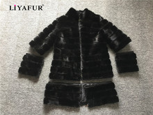 LIYAFUR 4 in 1 Real Mink Fur Long Coat for Women Natural Genuine Russian Fur Coats Luxury Black Customized Size Detachable