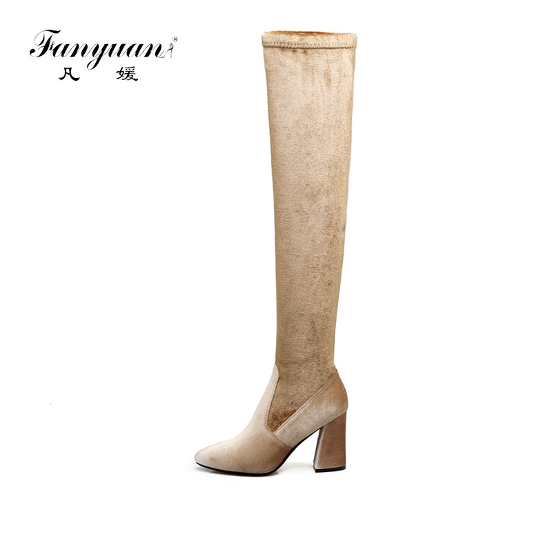 Fanyuan 2017 new arrive women Long boots fashion flock pointed toe black red over the knee boots thin heels zipper ladies boots fanyuan 2017 hot sale spring autumn new arrive women boots fashion faux suede pointed toe zipper solid color over the knee boots