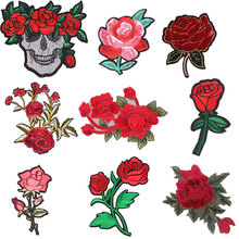 Top 1 PCS Rose Embroidered Iron on Patches for Clothing Sequin DIY Stripes Clothes Patchwork Sticker Tops Flowers Applique E