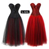 Women Ruffles Gothic Halloween Lace up Corset Dress Skirt Moulin Rouge Showgirl Clubwear Costume Petticoat Skirts Plus Size 6XL