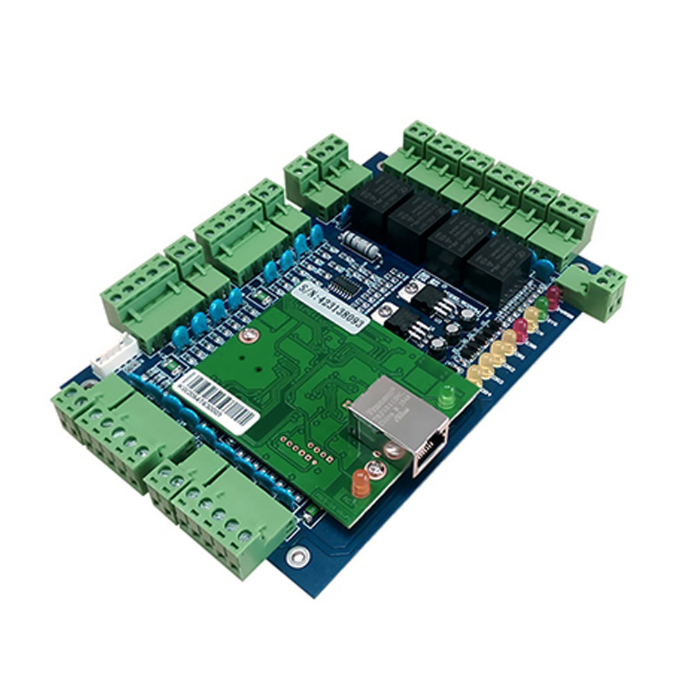TCP/IP four Door access Control,Network access control board for access control system and time attendance sn:L04 network access control staff attendance management system