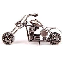 Decor Home Decoration Accessories 14cm Motorcycle Model Retro Motor Vintage Figurine Metal Iron Motorbike Prop