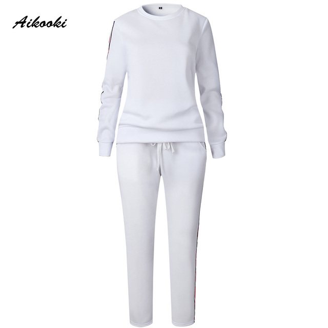 Aikooki Casual Womens Tracksuit Sets Autumn Winter Two Piece Sets Long Sleeve Sweatshirt Long Pants Outfit Femme Sporting Suits