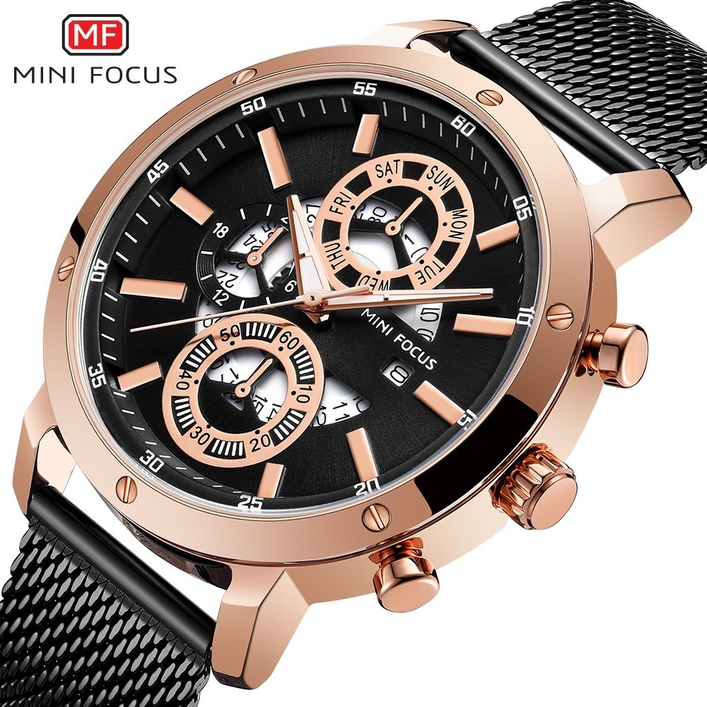 MINI FOCUS Watches Mens 2019 Quartz Rose Gold Watch Men Business Top Brand Luxury Fashion Casual Male Luminous