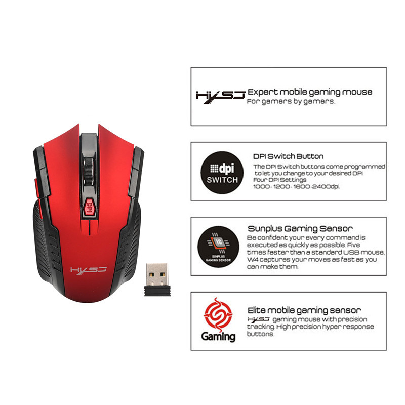 Image 4 - HXSJ X20 2.4G Wireless Mouse Mice 6D Gaming Optical Mouse Computer Mouse with 2400DPI for Desktop Laptop PC Pro Gamer-in Mice from Computer & Office