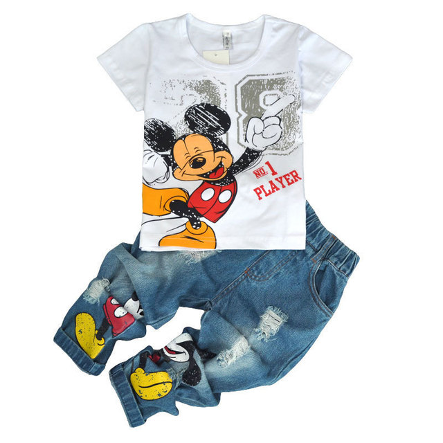 Children's wear autumn summer boys sports leisure suit Mickey T-shirt jeans trousers two sets clothes  on AliExpress