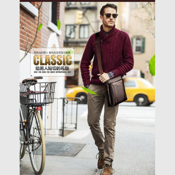 Fashion Shoulder Bag Men's Messenger Bags PU Leather Briefcase Famous Brand Men Crossbody Bag Male High Quality Shoulder Bag 1