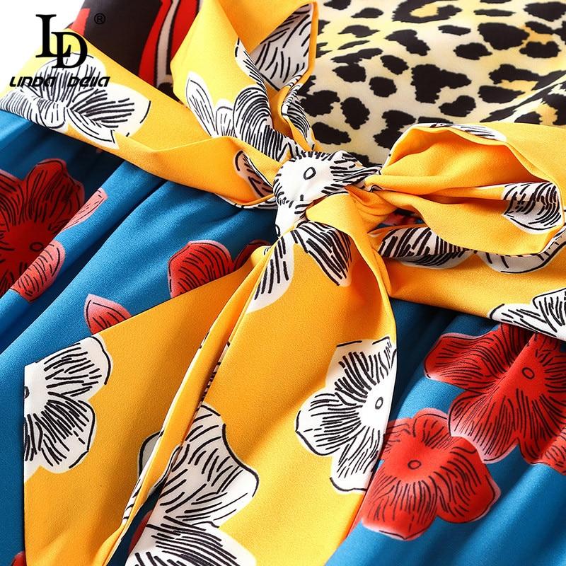 LD LINDA DELLA แฟชั่นรันเวย์ฤดูร้อนชุดยาวผู้หญิง V คอดอกไม้เสือดาวพิมพ์ Patchwork Vintage Belted ชุด-ใน ชุดเดรส จาก เสื้อผ้าสตรี บน   3