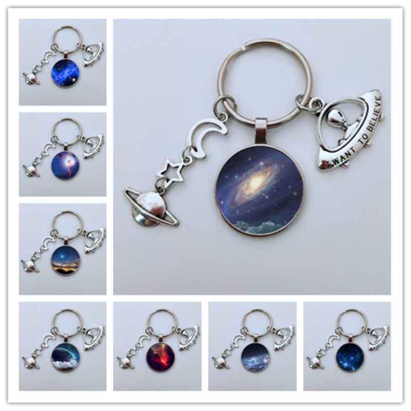 2019 New Space Galaxy Glass Keychain Saturn Charm Moon  Keychain UFO Key Ring For Women Men Best Friend Ship Gift
