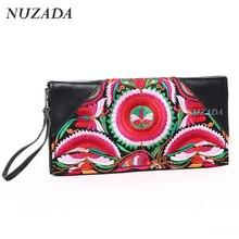 Marke NUZADA Frauen Brieftaschen Aus Echtem Leder Damenmode Geldbörsen Damen Handtasche Vintage Stickerei Kupplung Kartenhalter xqb-010
