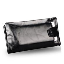 Neue weiche Öl wachs echtem leder männer brieftasche langen designer männlichen kupplung luxus-marken-männer geldbörsen reißverschluss geldbörse telefon taschen
