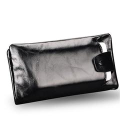 Nieuwe zachte Olie wax echt leer mannen portemonnee lange designer mannelijke koppeling Luxe merk mannen portefeuilles rits portemonnee telefoon tassen