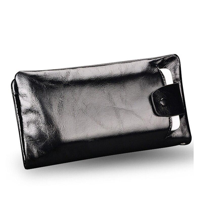 Nouvelle doux Huile-cire cuir véritable hommes portefeuille à long concepteur mâle embrayage De Luxe marque hommes portefeuilles zipper porte-monnaie téléphone sacs