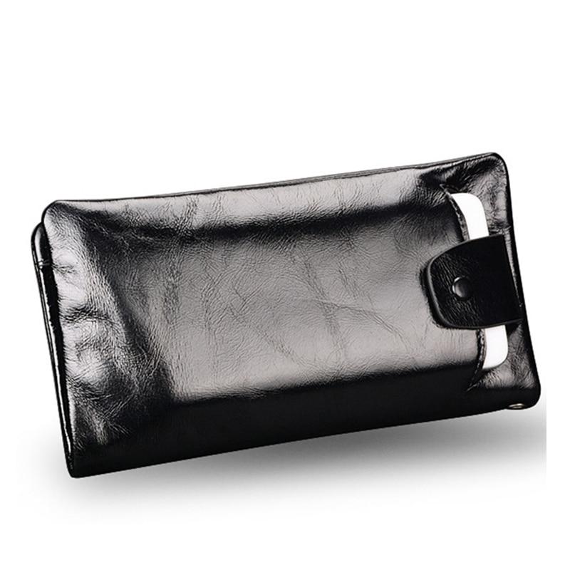 Nowy miękki wosk z oliwek prawdziwej skóry mężczyzn portfel długi projektant mężczyzna sprzęgła luksusowej marki mężczyzn portfele zipper portmonetka torby na telefon w Portfele od Bagaże i torby na title=