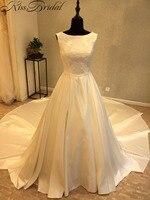 Vestidosデnoiva熱い販売安いウェディングドレスで長い尾エレガントなサテンのウェディングドレス2018ジッパーバッ