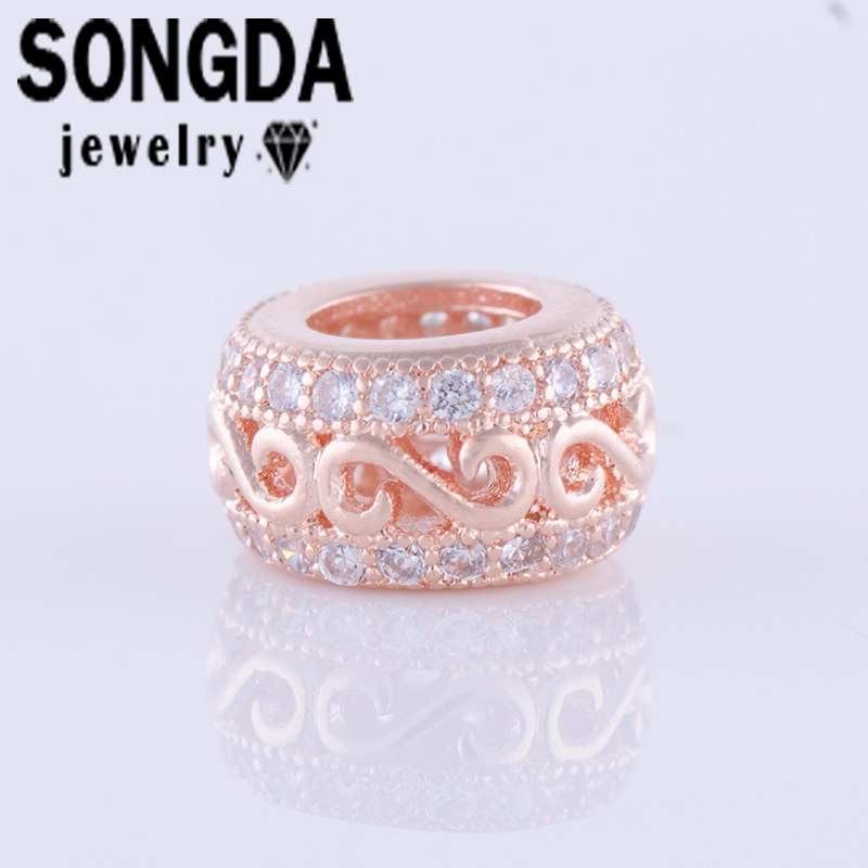 SONGDA New Micro Pave 9.2*5.2mm Cubic Zirconia Beads Jewlery Accessories Copper Beads For Handmade DIY Bracelet&Bangle PZ0158