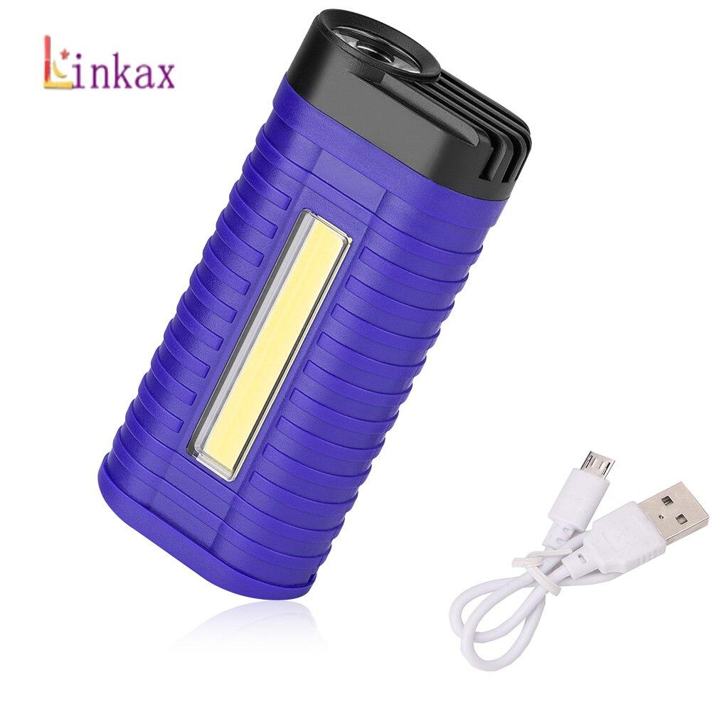 2 Modes COB LED Flashlight Torch Super Bright USB Charging Work Light Handheld Flashlights Pocket Clip Work Light For Emergency