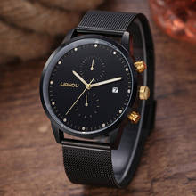 LIANDU Luxury Brand Fashion Simple Stylish Mens Chronograph Quartz Watch Black Dial Simulated Stainless Steel Mesh Strap Watches