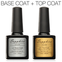 2016 Hot Sapphire Top Coat + capa Base de esmalte de uñas de Gel magníficos colores Gelpolish UV esmalte de uñas de Gel Long-lastting máximo 40 días