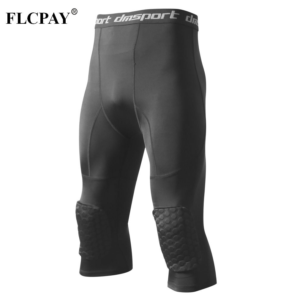 Men's Basketball Padded Three-Quarter Tights Pants With Knee Pads For Men 3/4 Capri Compression Tights Leggings Girdle Training