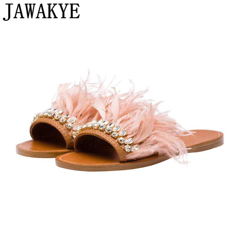 цена summer Slippers women flat Heels crystal fringe feather embellished slides flip flop cozy tassel rhinestone beach shoes ladies