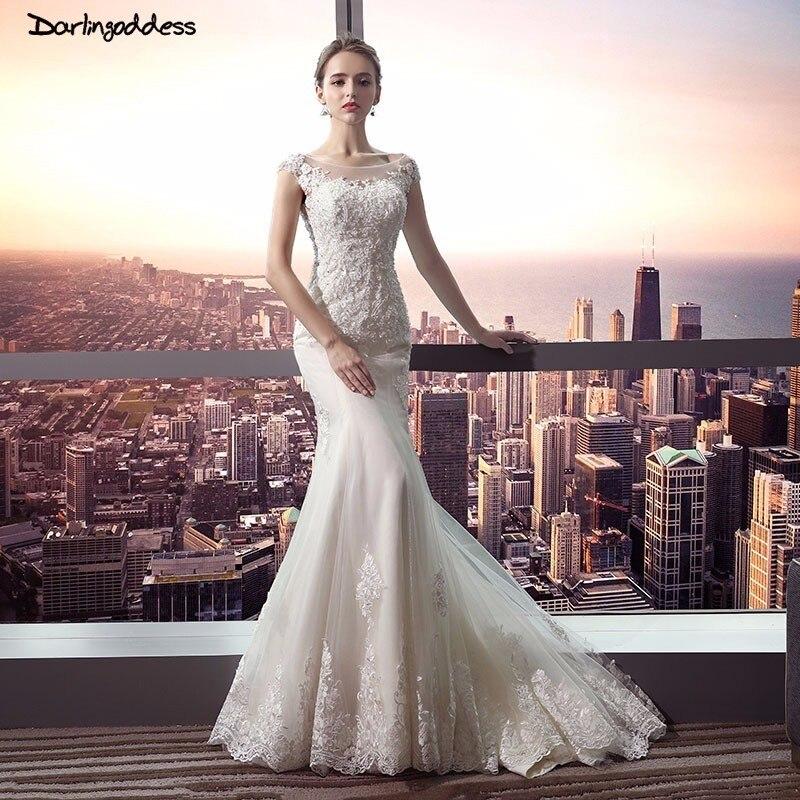 Classic Wedding Gowns 2018: Darlingoddess 2018 Luxury Ivory Lace Mermaid Wedding