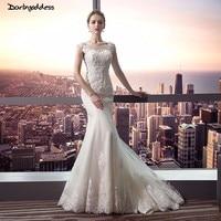 Darlingoddess 2018 Luxury Ivory Lace Mermaid Wedding Dresses Crystal Beading Vintage Wedding Gowns Sexy Backless Wedding Dress