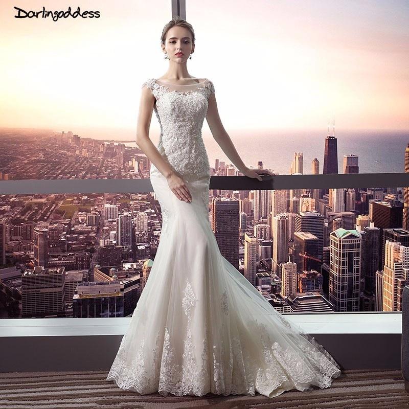 Darlingoddess 2018 Luxus Elfenbein Spitze Meerjungfrau Brautkleider