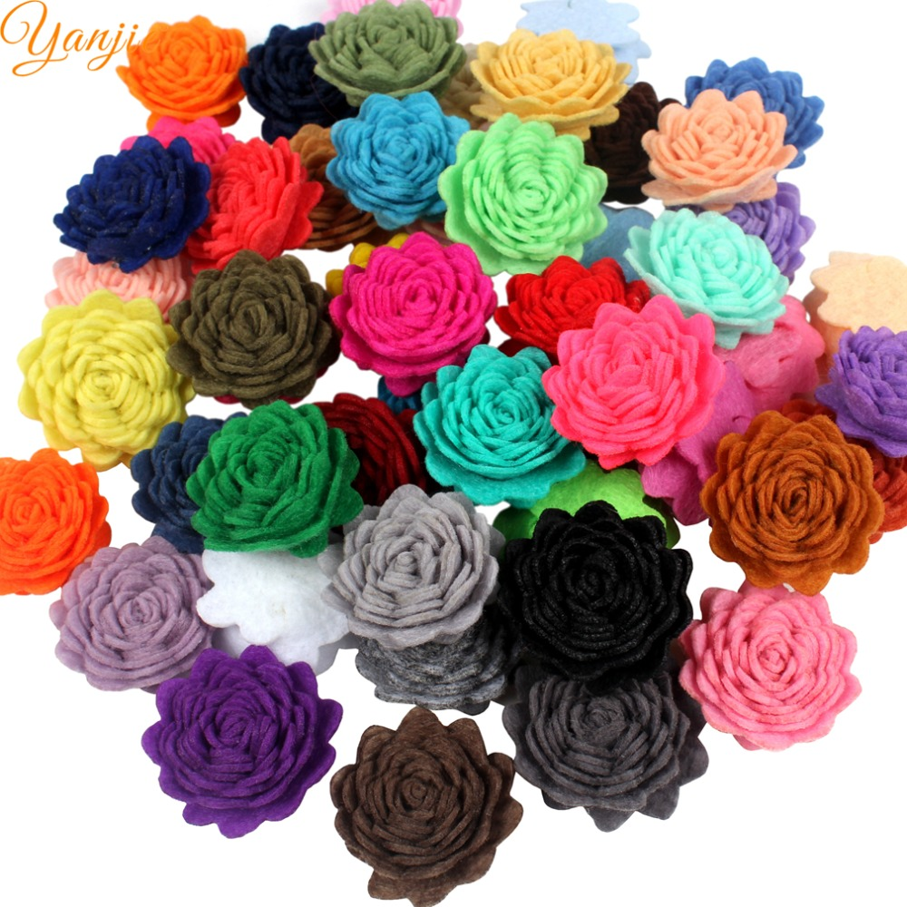 30pcslot 1 Mini Wool Felt Flowers For Girls 2018 Birthday Party