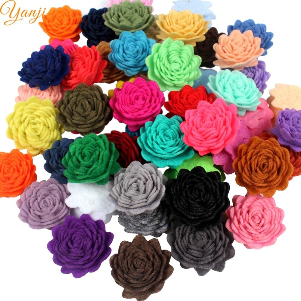 30pcslot 1 Mini Wool Felt Flowers For Girls 2018 Birthday Party