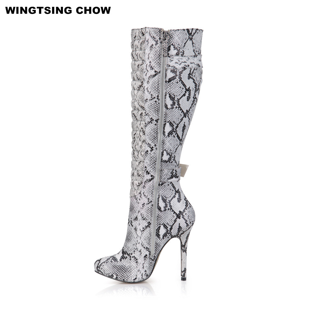 Snake Style Buckle Knee High Boots Leather Shoes Women High Heels Sexy Motorcycle Boots Ladies Shoes Pumps 12cm Plus Size 43 egonery buckle strap faux leather thick high heels fashion style ladies party shoes women s shoe plus size woman pumps