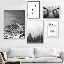 Snow Mountain Forest Bridge Bird Quote Wall Art Canvas Painting Nordic Posters And Prints Pictures For Living Room Decor