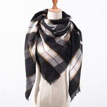 Бандана палантин платок на шею шарф зимний Дизайнерский бренд женский шарф модные клетчатые зимние шарфы для дам Кашемировые Шали Обертывания Теплый для шеи треугольная повязка Пашмина