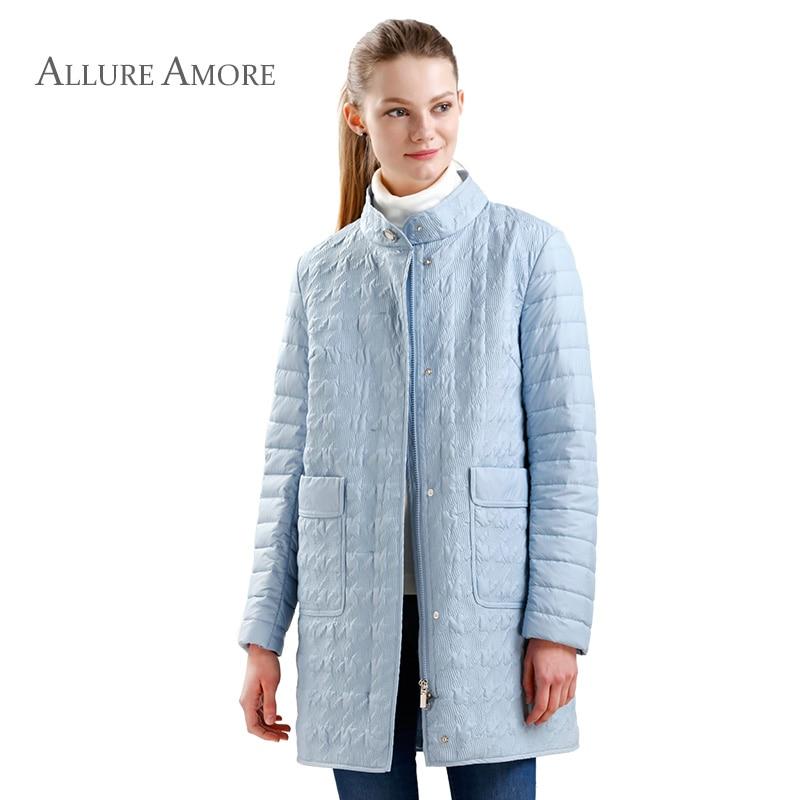 пальто женское весна Модные теплые Женская куртка парка пальто простой Стиль ветрозащитная куртка Стеганое пальто Новая коллекция Allure Amore