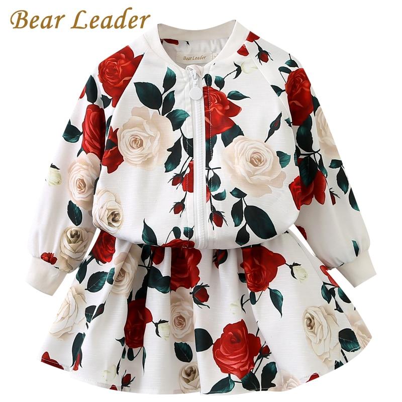где купить Bear Leader Girls Clothing Sets 2018 Fashion Girls Clothes Long Sleeve Floral Coats+Rose Floral Skirts 2Pcs Kids Clothing Sets по лучшей цене