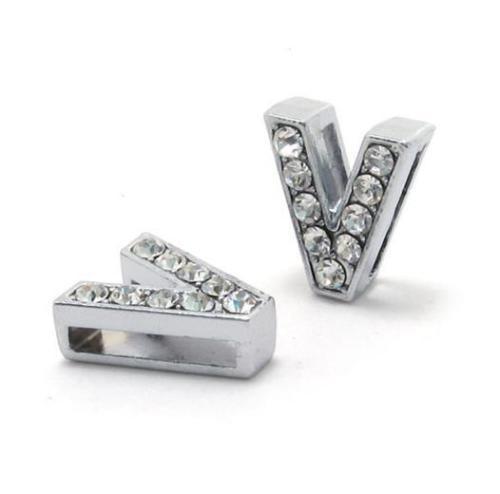 A-Z, 8 мм, стразы, кулон, буквы, подходят для DIY, подарок, шарм, кожаный браслет, браслет, пояс, ожерелье, ювелирные аксессуары - Окраска металла: V