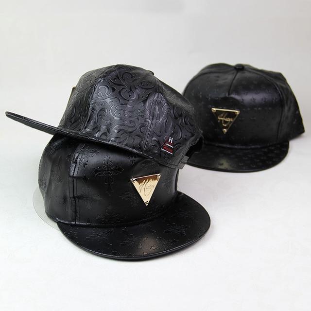 b962ffd7d7819 Black polo hats stars printed leather snapback baseball cap hip hop men women  gorras planas snap back hat