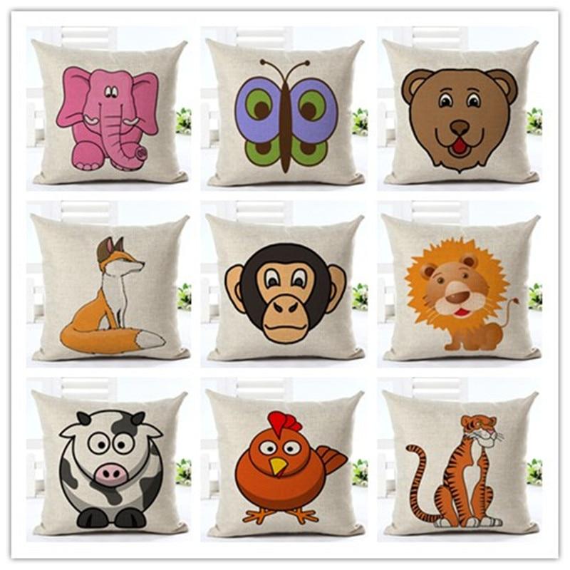 cartoon fox animal cushion cover decorative pillows US SELLER