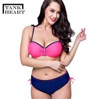 Tank Heart Solid S Push Up Bikini Set Plus Size Swimwear Large Sizes Bathing Suit Women