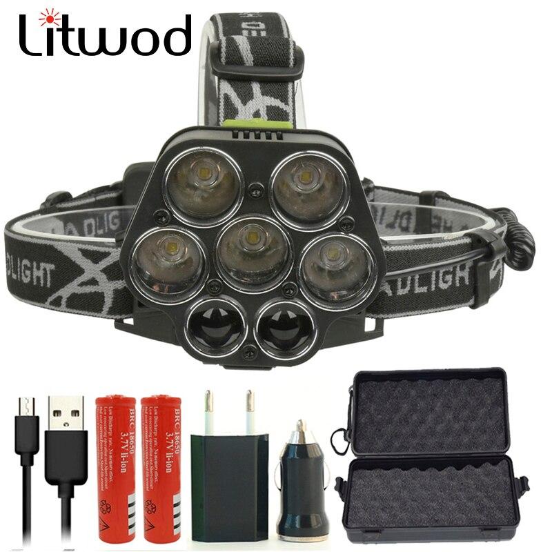 Litwod Z202507 Powerful Led Headlamp Micro USB Charger Headlight 5*T6 + 2*XPE Head Lamp Portable Light Flashlight Torch Lantern